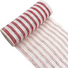 David angie Deco Poly Mesh Ribbon Metallic Silver Red Stripe Foil Mesh Ribbon 10 Yards/Roll 26.5cm/10.4 Inch for Wreath Bo...