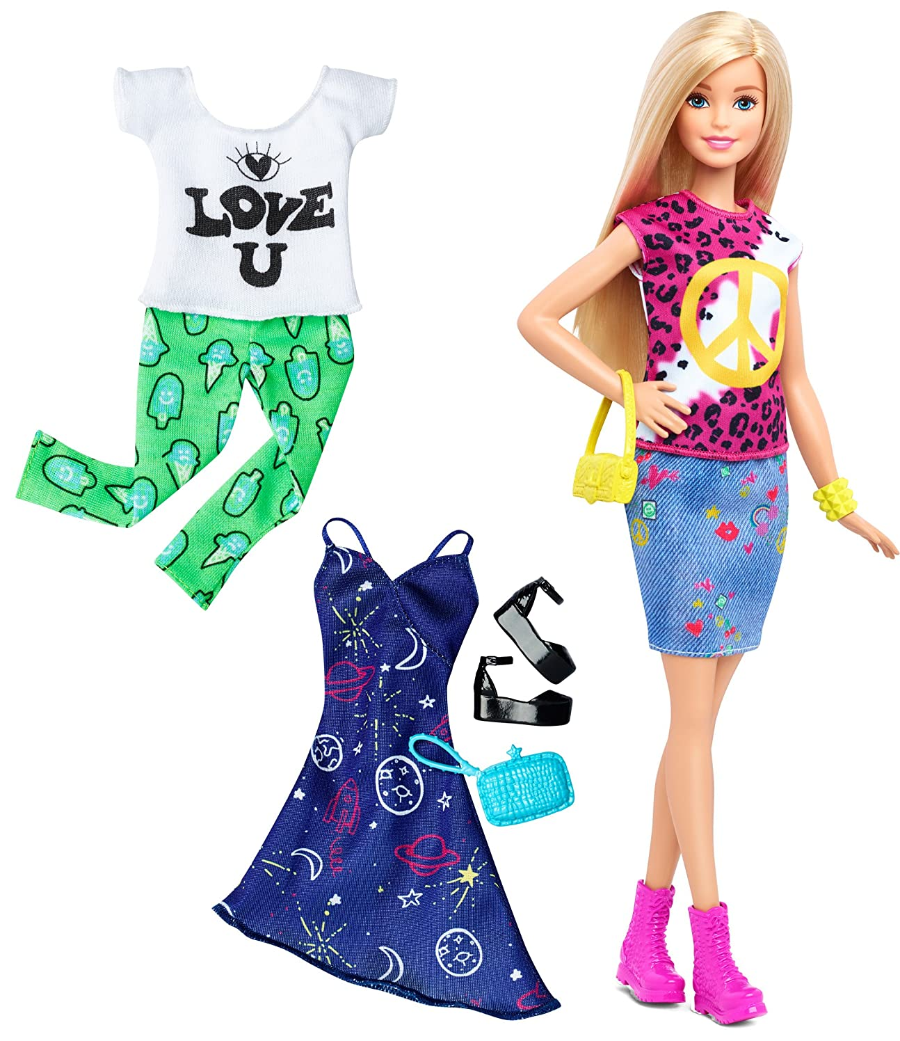 うまくやる()バタフライ引き付けるBarbie Fashionistas Doll & Fashions Peace & Love, Blonde