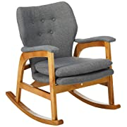 Christopher Knight Home 301988 Bethany Mid Century Fabric Rocking Chair, Grey, Light Walnut