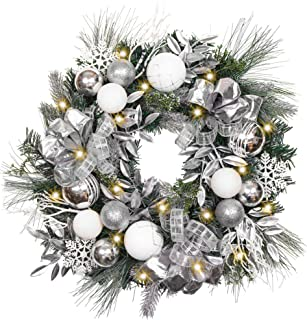 Valery Madelyn Pre-Lit 24 Inch Frozen Winter Silver White Christmas Wreath for Front Door with Shatterproof Ball Ornaments, Snowflakes, Pine Cones, Ribbons and Flowers, Battery Operated 20 LED Lights