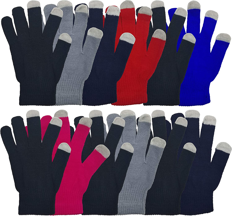 Winter Magic Gloves, 12 Pairs Stretchy Warm Knit Bulk Pack Mens Womens