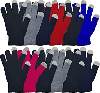 Touch Screen Winter Gloves, 12 Pairs Soft Stretchy and Warm Bulk Pack Glove, Mens and Womens (Assorted)