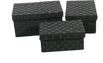 Franz Müller Flechtwaren 88617F17 Conjunto de 3 Cajas de Almacenamiento con Tapa Rectangular, 31 x 21 x 14 cm 1-Veces, 35 x 25 x 16 cm 1-Veces, 39 x 27 x 19 cm 1-Veces, Cinta de Nylon Trenzado, Negro