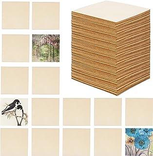 BELLE VOUS Tranche de Bois Brut (Lot de 50) - Plaque Bois Naturel 10 x 10 cm et 2,5 mm d'Épaisseur - pour Artisanat, Desso...