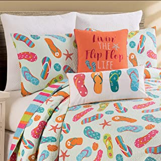 C&F Home 100% Cotton Flip Flop Life 3 Piece Full/Queen Quilt Set Coastal Tropical Beach Reversible Bedspread Coverlet for Spring Summer