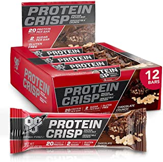 BSN Protein Bars - Protein Crisp Bar by Syntha-6, Whey Protein, 20g of Protein, Gluten Free, Low Sugar, Chocolate Crunch, ...