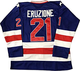 Mike Eruzione #21 1980 Miracle On Ice USA Hockey Jersey Blue