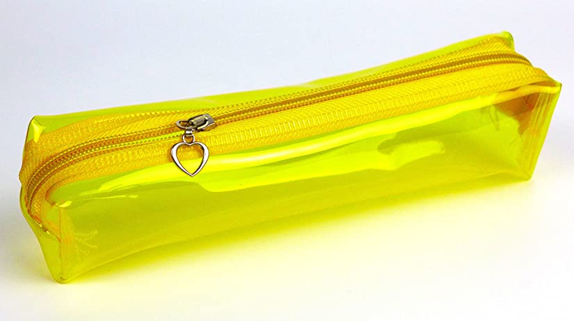 Cypress Lane Candy Color Clear Zippered Pencil Case/Makeup Pouch/Crochet Hooks Bag (Single Pack, Candy Yellow)