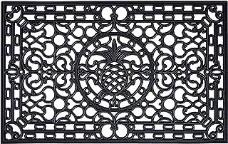 """Pineapple Heritage 100% Rubber Doormat, 30"""" x 48"""", Black"""