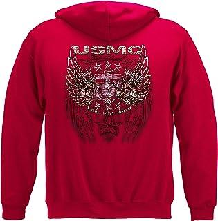 Erazor Bits Marine Corps Hooded Sweat Shirt USMC Prid Duty Honor Stars Foil Stamp THM2066SW
