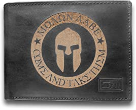 Molon Labe Moagn Aabe Come And Take Them Genuine Cowhide Leather Laser Engraved Engraving Slimfold Mens Large Capacity Luxury Wallet Purse Minimalist Sleek Slim Black Card Holder Organizer 14 Pockets