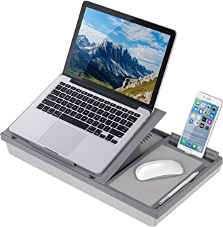 LapGear Ergo Pro Lap Desk with 20 Adjustable Angles, Mouse Pad, and Phone Holder - Gray - Fits up to 15.6 Inch Laptops and...