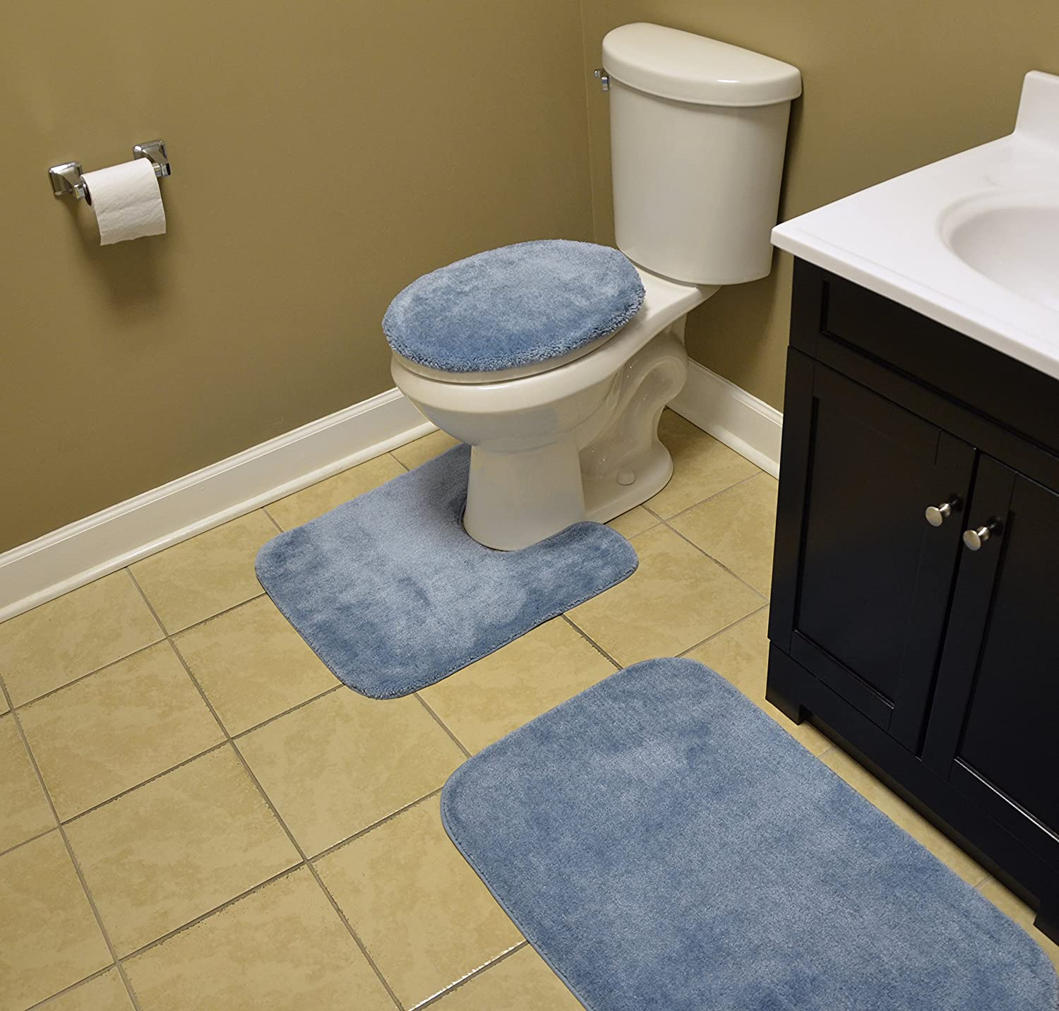 Garland Rug BA010W3P02J4 Traditional Bath Rug Set, 3-Piece Set, Basin bluee