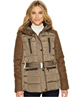 French Connection - Cinched Waist Puffer with Faux Fur Hood