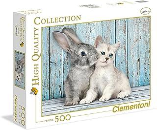 Clementoni Adult Best Friends Cat & Bunny 500-Pieces Puzzle, Multi-Colour,35004