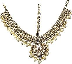 Jewel India Ethnic Traditional Wedding Bridal Party-wear Kundan Pearl CZ Indian Maang Tikka Matha Patti for Women