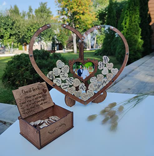 high quality Wedding Guest Book Alternative, Wedding Drop Box, Drop Top Frame with Photo, wholesale Rustic Wedding, Guest Book new arrival Sign, Heart Shape, Shadow Box for Wedding, Baby Shower, Anniversary (Oak-Transparent) outlet online sale