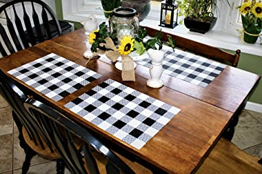 """Placemats Black and White Farmhouse Style Dishwasher Safe Thick, Strong & No Fraying No More Washing and Ironing Heat, Fade and Crease Resistant 70% Vinyl & 30% Polyester 12.5"""" x 17.5"""""""
