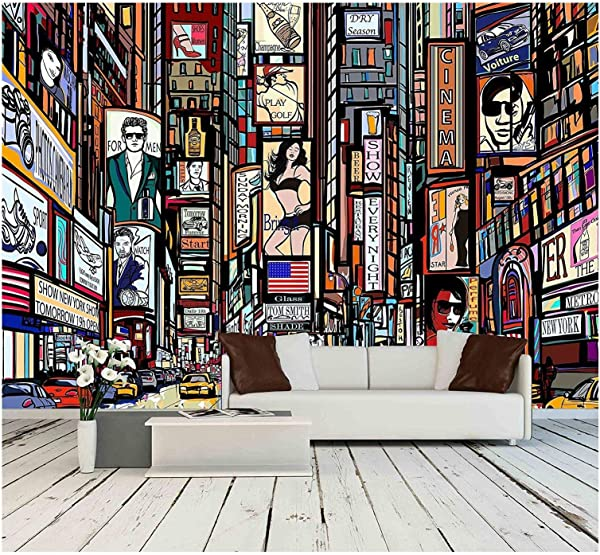 Wall26 Illustration Of A Street In New York City Removable Wall Mural Self Adhesive Large Wallpaper 100x144 Inches