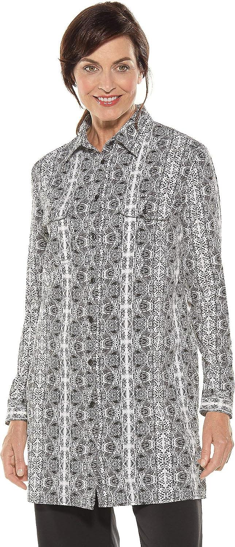 014780 Women's Santorini Tunic Shirt UPF 50 Black Island Watercolour XXL