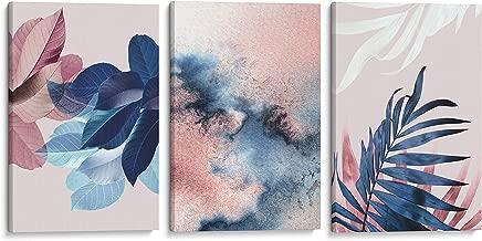 Artiv Studio - Set of 3 Abstract Canvas Wall Art Watercolor Botanical Tropical Plant Navy Blue Blush Pink Decor 16