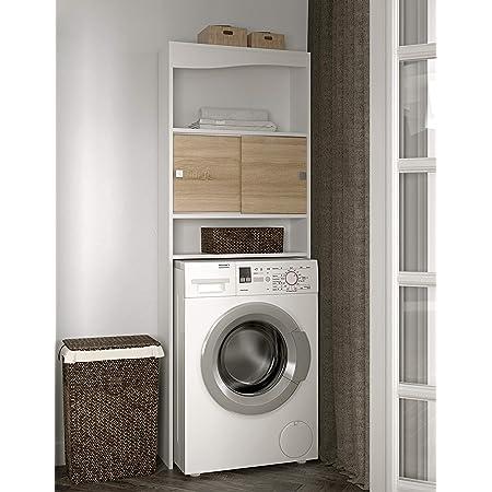 TemaHome Meuble WC-Machine à Laver-Corps Blanc-Façade Wave, Bianco E Rovere, 64,3 x 19,2 x 177 cm (L-P-A)
