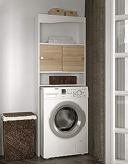 Temahome Wave mueble para lavadora rojas Melamina blanco y roble 96 x 431 x 12 cm