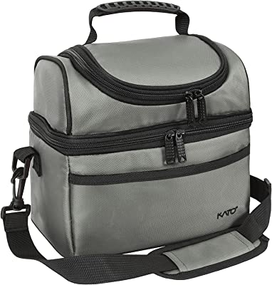 Kato Insulated Lunch Bag, Leakproof Bento Cooler Tote Lunch Box for Men and Women, Dual Compartment with Shoulder Strap, Gray