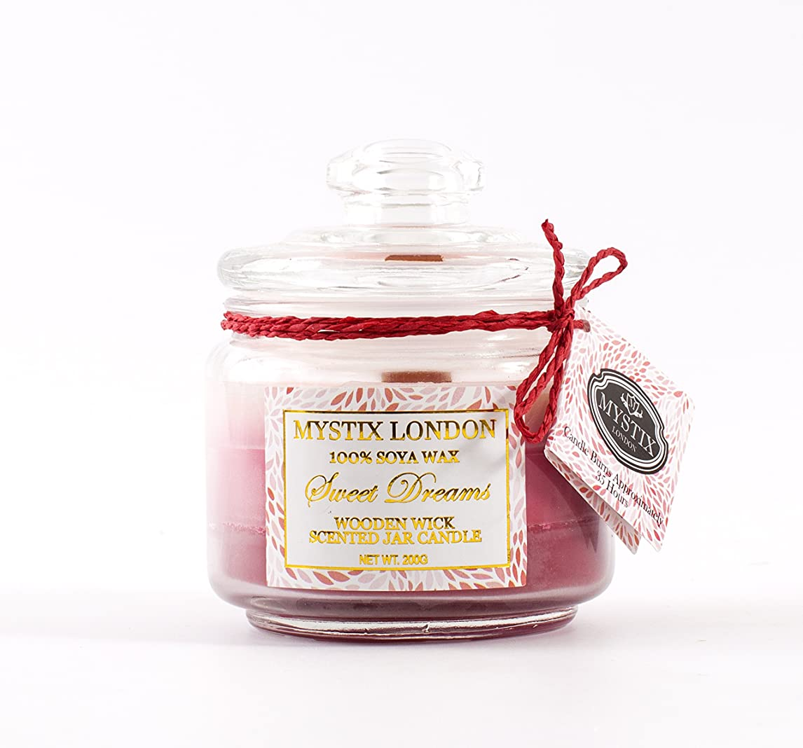 誰もタンカー実際のMystix London | Sweet Dreams Wooden Wick Scented Jar Candle 200g