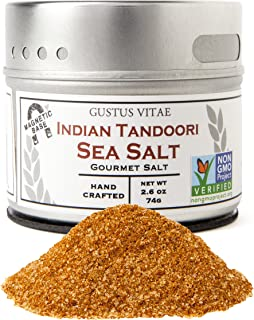 Indian Tandoori Sea Salt - Authentic Artisan Spice Blend - Gourmet Seasoning - Non GMO Verified - Magnetic Tin - 2.6oz - Crafted In Small Batches By Gustus Vitae - #12