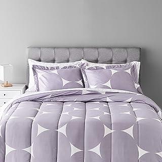 Amazon Basics - Set di biancheria da letto in 7 pezzi, con motivo a pois, colore: lilla
