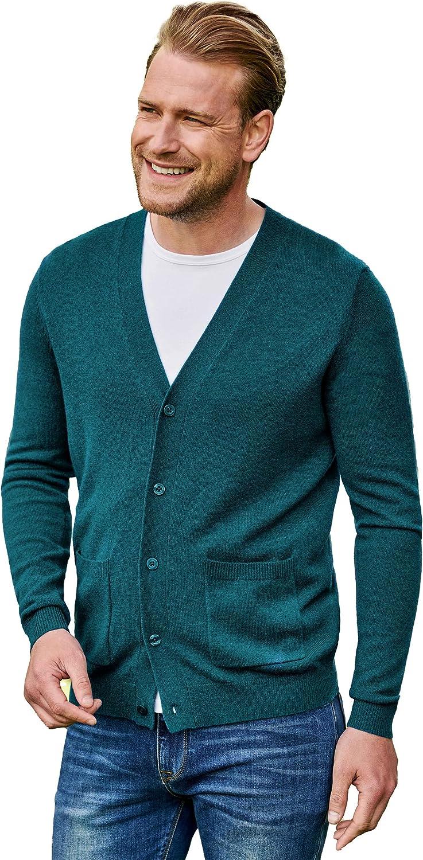 WoolOvers Mens Cashmere and Merino V Neck Cardigan Regular Moonlight Ocean S