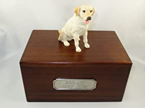Beautiful Paulownia Medium Wooden Urn with Yellow Labrador Lab Figurine & Pewter Personalized Engraving