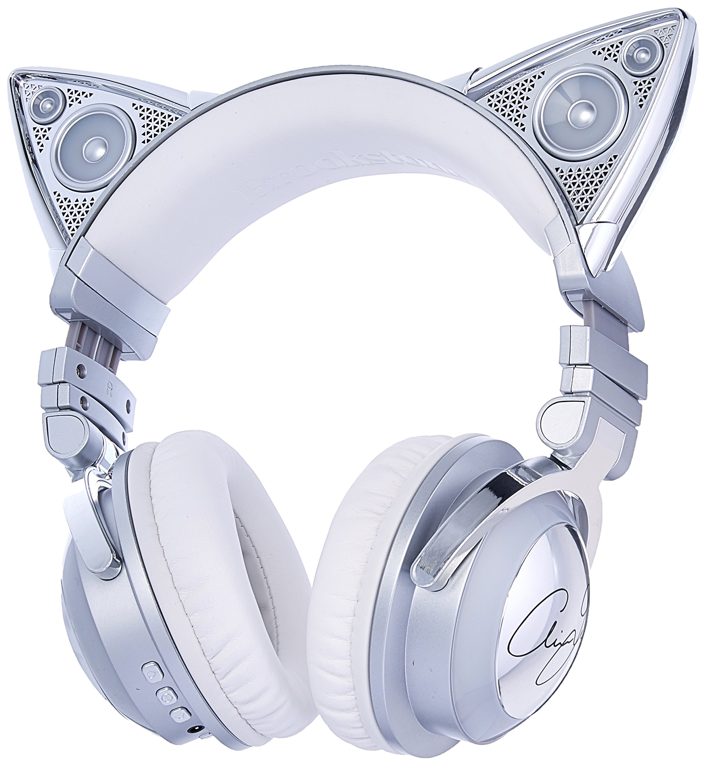 Amazon Com Brookstone Limited Edition Ariana Grande Wireless Cat Ear Headphones With External Speaker Bluetooth Microphone And Color Changing Accents Electronics