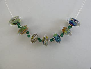 Multi-color Tapered Disc Artisan Lampwork Bead ZigZag Necklace with Swarovski Crystals and Sterling Silver Lobster Claw Clasp