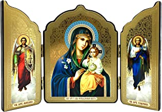 Icon Triptych - Virgin Mary Eternal Bloom Christ Child Wooden Russian Orthodox