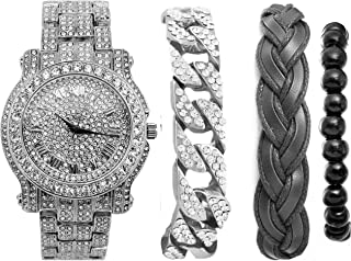 Cuban Bling-ed Out Luxury Silver Mens Watch w/The Coolest Bracelets - Distinctive & Rich Looking Fabric Braided Bracelet,Wooden Beaded Bracelet & Cuban Iced Out Bracelet for Men w/Style-L0504BBCSlvBlk