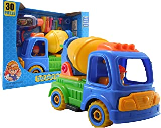 Allkindathings Children Toy Construction Lorry Truck Set of Cement Mixer with Drill and Tools
