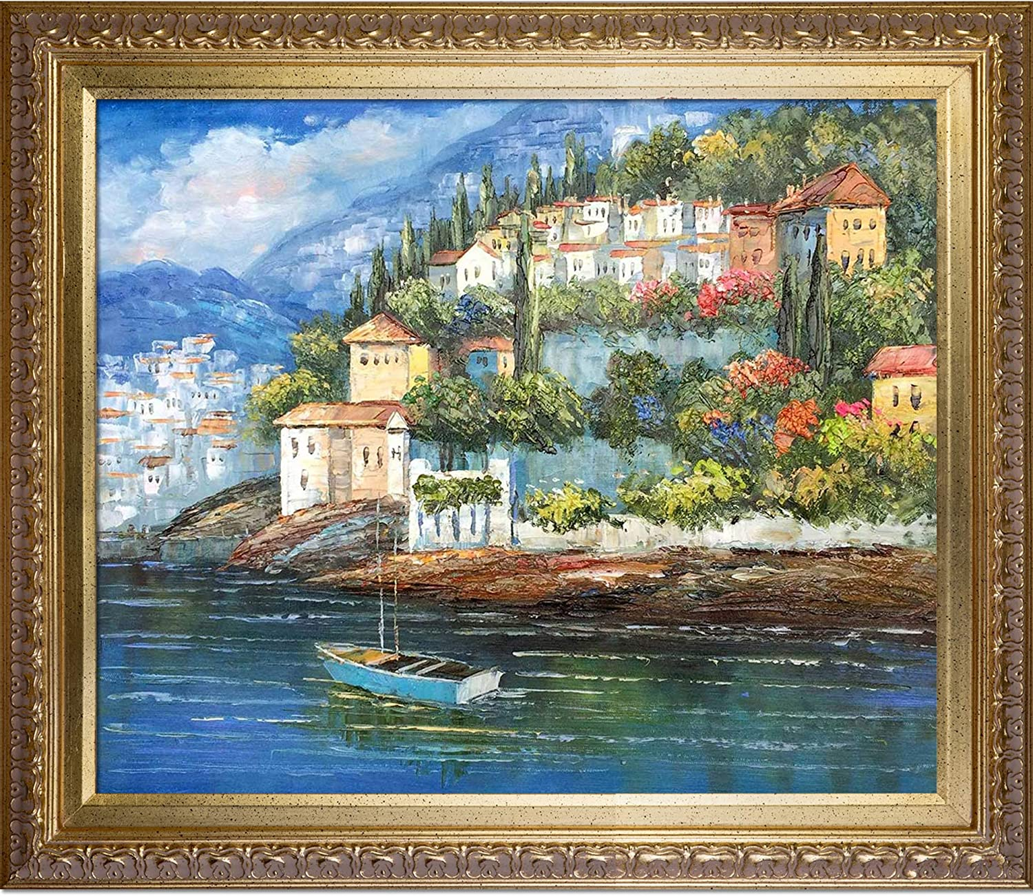 overstockArt Italy at Dusk Painting Wood Elegant Max 42% OFF Frame Large discharge sale Gold with