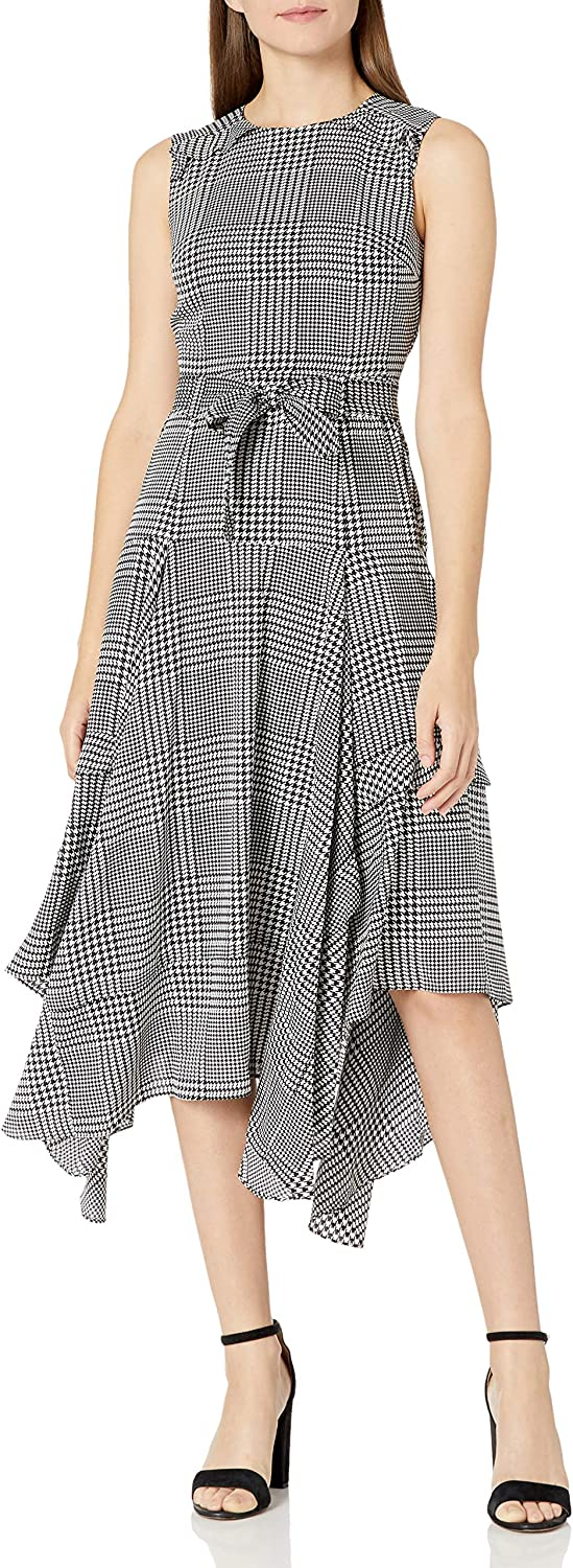 Calvin shipfree Klein Women's Complete Free Shipping Crew Neck Detail Dress Ruffle with