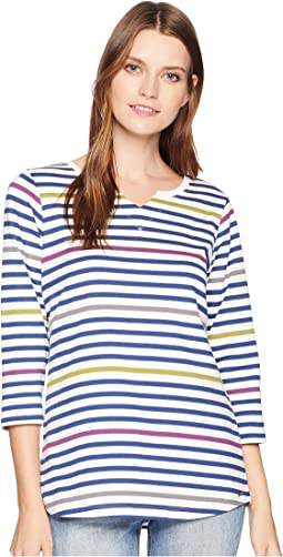 Multi Striped Notched Collar 3/4 Sleeve Top