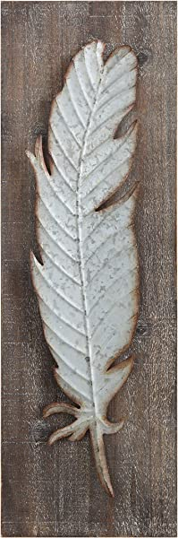 Creative Co Op Wood Wall D Cor With With Distressed Metal Feather