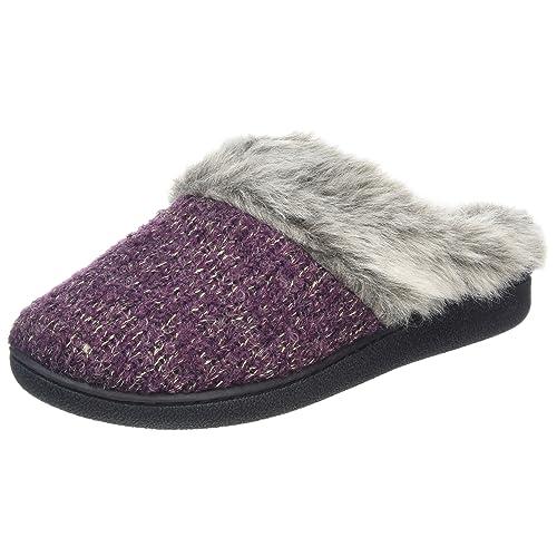 7de38b71a Dearfoams Women s Gold Accent Knit Clog with Memory Foam Low-Top Slippers