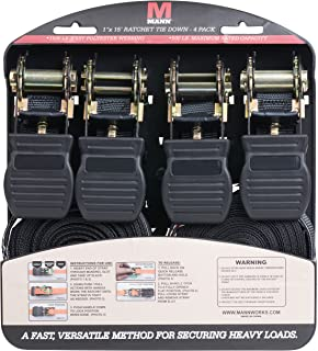 Mann Ratchet Tie Downs Straps with S-hooks 4-Pack Set 1-Inch x 15-Feet 500 Lbs Load Cap - 1500 Lb Break Strength (Black)