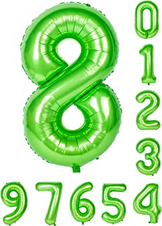 0-9 (Zero-Nine) Balloons 40 inch Green Number Balloon Mylar Birthday Party Decorations of Arabic Number 8