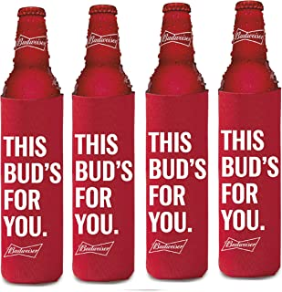 BUDWEISER 16oz Beer SLIM BOTTLE Cooler Coolie Hugie Water - 4 Pack