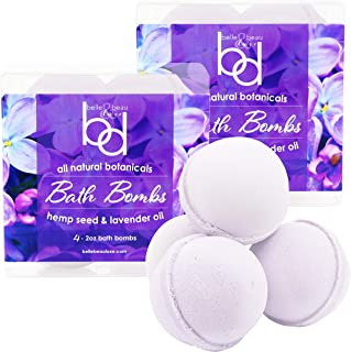 All Natural Hemp Lavender Bath Bombs - Loaded with Organic Hemp Seed Oil, Lavender Oil, and Shea Butter. 8 Count