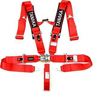 Tanaka SFI 16.1 Latch and Link 5-Point Safety Harness Set with Ultra Comfort Heavy Duty Shoulder Pads (for one seat) (Red)