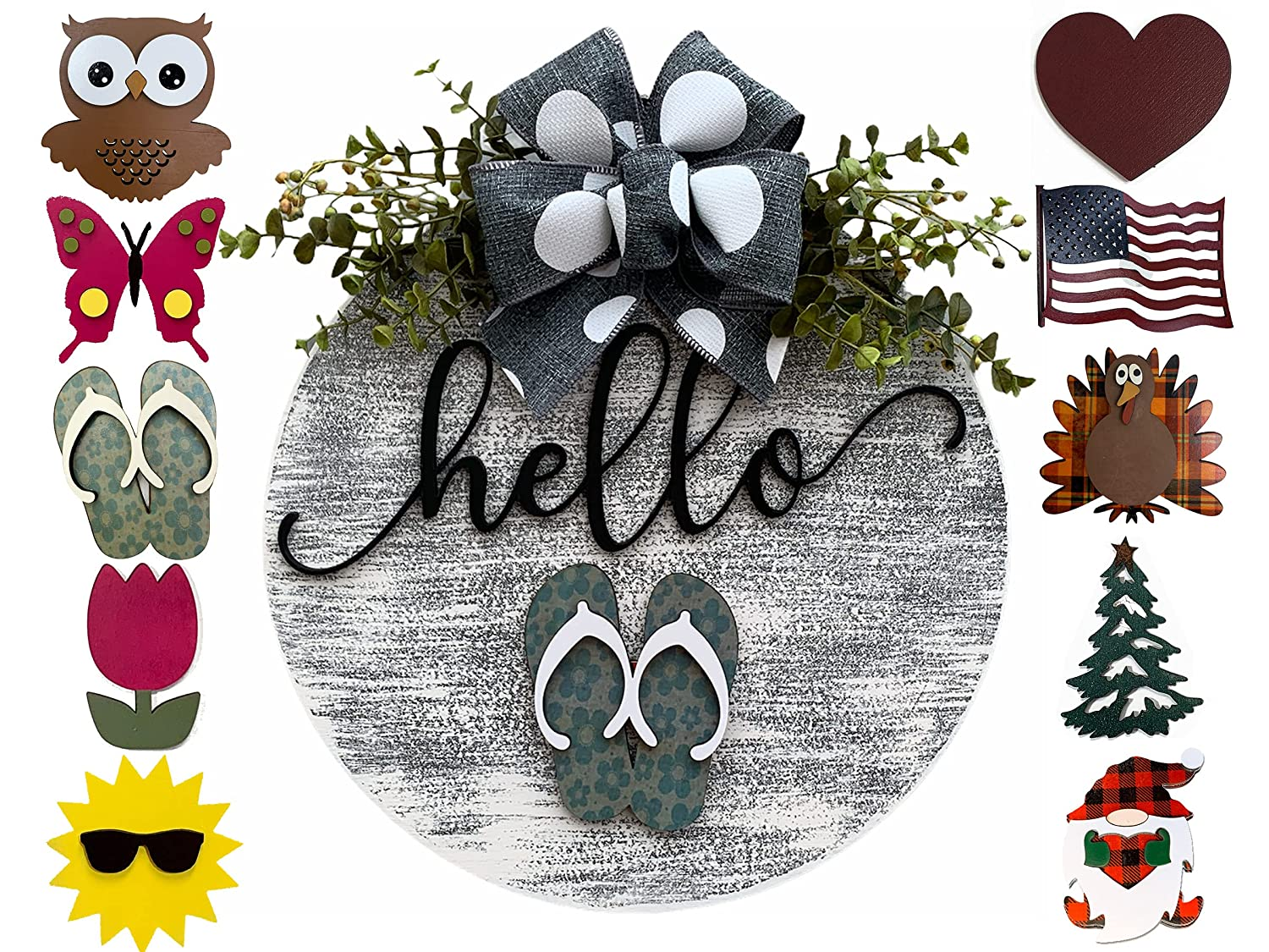 Holiday Wreath for Front Door Bombing new work Year Bow Round Sign Hanger Welcome New mail order