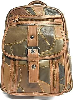 Mochila De Piel Color Marron, tambien disponible en negro (MARRON) Mochila de Estilo Vintage con Varios Compartimentos | Cierre ajustado - Cómoda y Práctica